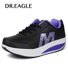 DR.EAGLE Outdoor talking Slimming sneakers Shake toning Sports shoes woman Swing Wedge sneaker Fitness Lady 5 Cm Platform Shoes(China)
