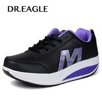 DR. hablando de ÁGUILA Al Aire Libre zapatillas de deporte Para Adelgazar tonificación Sacudida Deportes zapatos de mujer Oscilación Aptitud Señora 5 Cm Plataforma deporte de la cuña zapatos