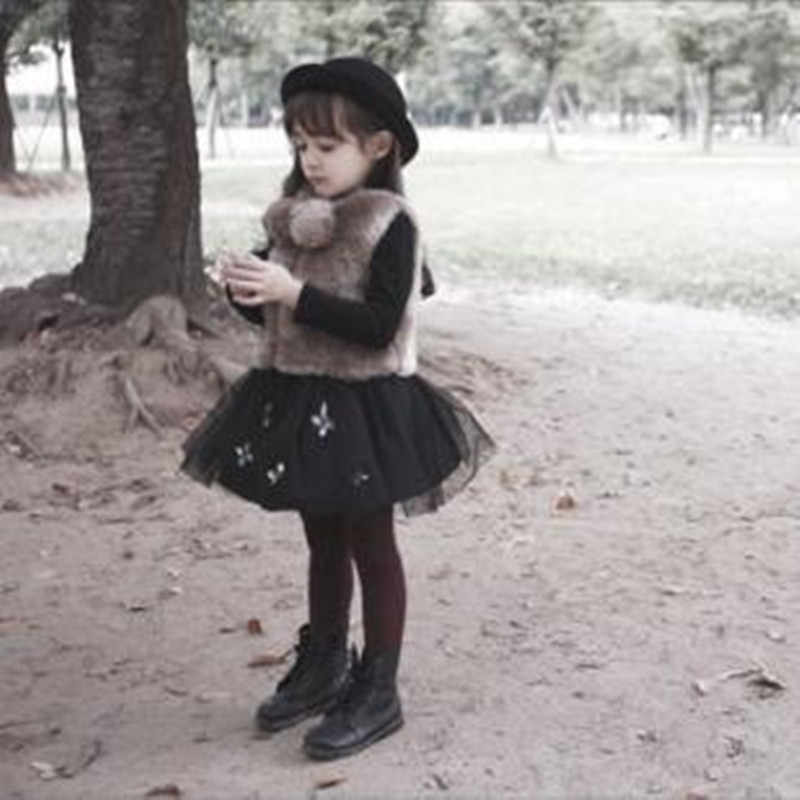 Furry 2018 Autumn Winter Little Girls Faux Fur Vest Kids Coats Soft Clothes Toddler Thickening Sleeveless Princess Jackets N183