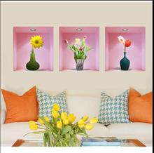 3 d simulation flowers Creative european-style bedroom warmth wall stickers, sitting room background decorative sti