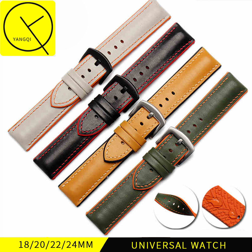 18mm 20mm 22mm 24mm Calf Genuine Leather Silicone Universal Watchband Pin Buckle Bracelet for Omega for Breitling Watch Strap jansin 22mm watchband for garmin fenix 5 easy fit silicone replacement band sports silicone wristband for forerunner 935 gps