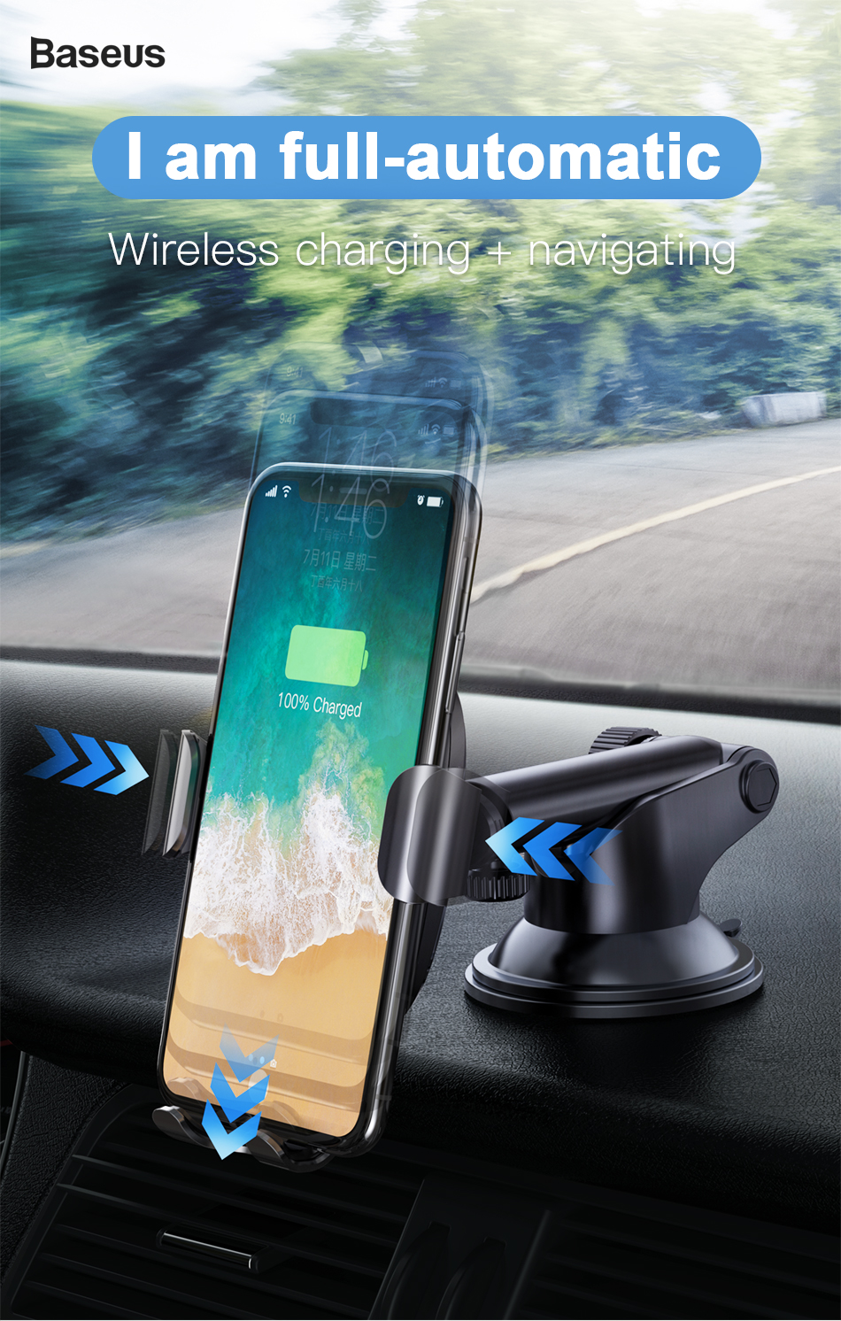 Baseus Wireless Car Charger For iPhone Xs Max Xr X 8 Samsung Note 9 Qi Wireless Charger Fast Wirless Charging Car Phone Holder 12