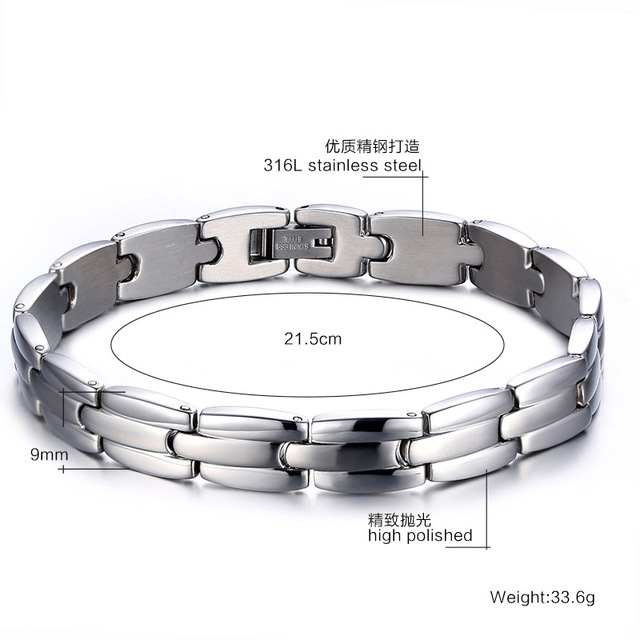 New Men's Health Bracelets & Bangles Magnetic H Power Stainless Steel Charm Jewelry For Man Sizzz-158