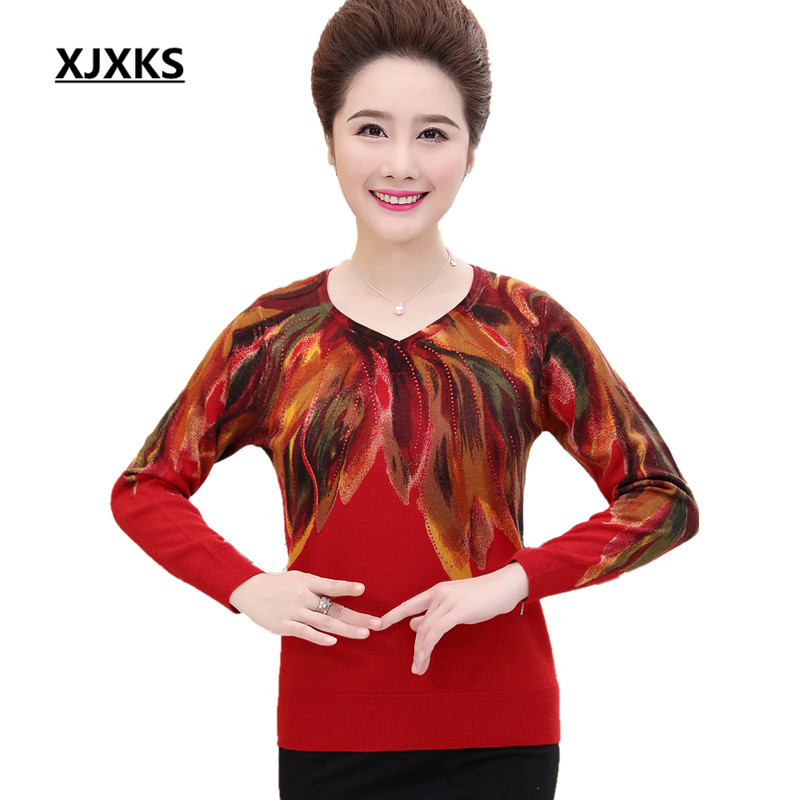 XJXKS V neck Women Sweater And Pullovers Mother Clothing Beautiful Print High Quality New Selling Woman