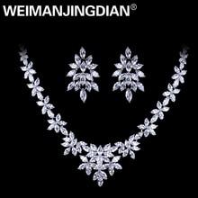 WEIMANJINGDIAN สีขาวทอง Plated Cubic Zirconia Zircon CZ สร้อยคอและต่างหูชุดแต่งงานชุดเจ้าสาว