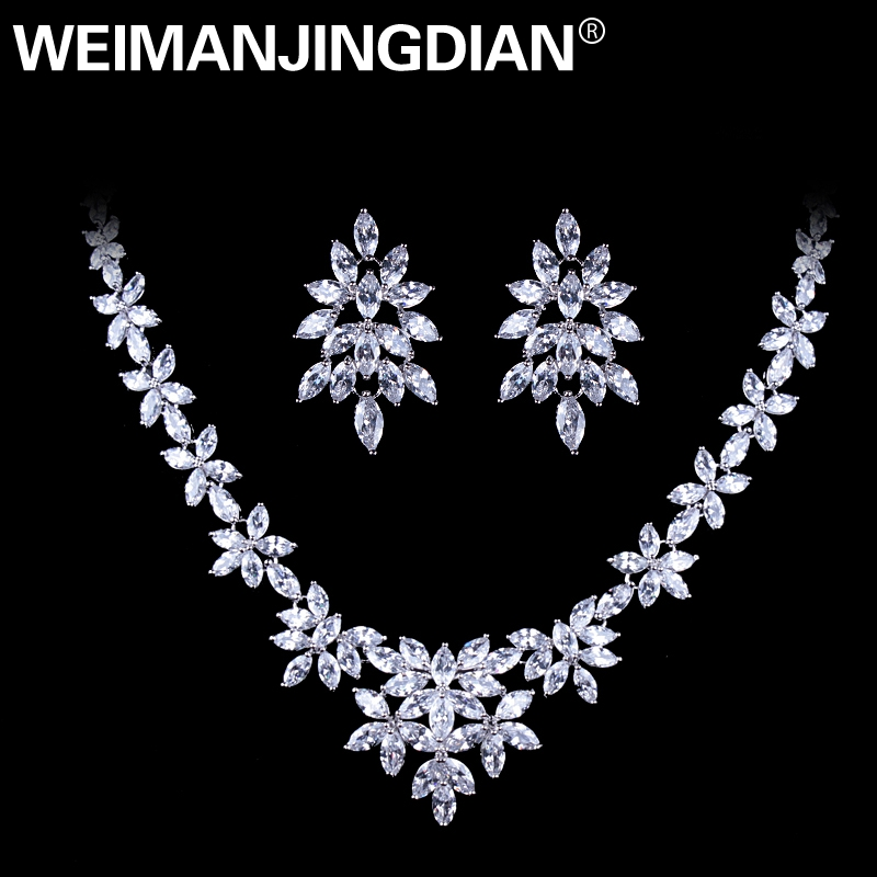 WEIMANJINGDIAN White Gold Color Plated Cubic Zirconia Floral  Design Zircon CZ Necklace