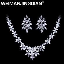 WEIMANJINGDIAN White Gold Plated Zirconia Bloemen Ontwerp Zirkoon CZ Ketting & Earring Huwelijk Bruids Sieraden Sets
