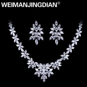 Image 1 - WEIMANJINGDIAN White Gold Plated Zirconia Bloemen Ontwerp Zirkoon CZ Ketting & Earring Huwelijk Bruids Sieraden Sets