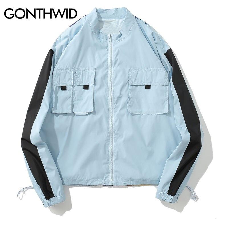 GONTHWID Hip Hop creativo impreso Color bloque Patchwork Delgado chaquetas  hombres mujeres 2018 otoño moda Casual Streetwear hombres abrigos en  Chaquetas de ... 28d9b8e8bc9