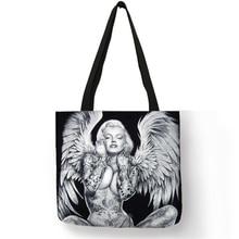 Custom Tattoo Marilyn Monroe Print Storage Bags Shopping Tote Linen Bag For Women Shoulder Handbags