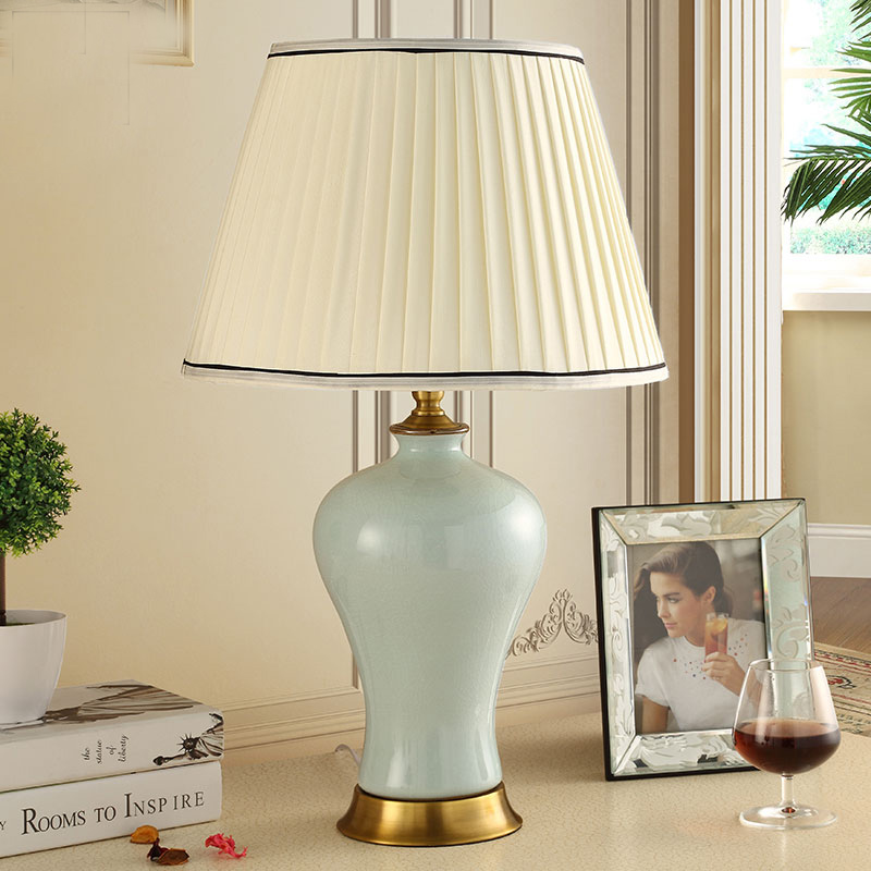 Modern Chinese Style Ice crack Ceramic Bedroom Bedside Table Lamps With Shade,LED Table Lamp E27,Reading Desk Lights For Home modern industrial style table lamps lights for bedroom bedside folding desk lamp clip dimmer led light clamp lampshade abajur