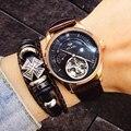 Kwaliteit Tourbillon Horloge Mannen Zon En Maan Fase Automatische Zwitserse Diesel Horloges Man Mechanische Transparant Steampunk AILANG