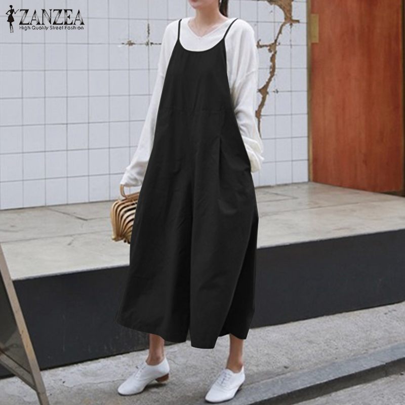 2018 ZANZEA Summer Jumpsuit Women Strappy Wide Leg Rompers Solid Loose Casual Cotton Linen Sleeveless Overalls Dungarees