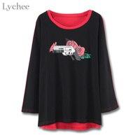 Lychee Frühling Herbst Frauen T-shirt Gun Rose Print Patchwork Langarm T-shirt Streetwear T-größe Top Weibliche