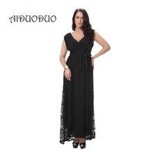 2016 sommer Frauen Abendgesellschaft Elegantes Schwarz Spitze Maxi Kleid Sexy V-ausschnitt Vintage Retro Formales Kleid Plus Größe 5XL 6XL 7XL 8XL
