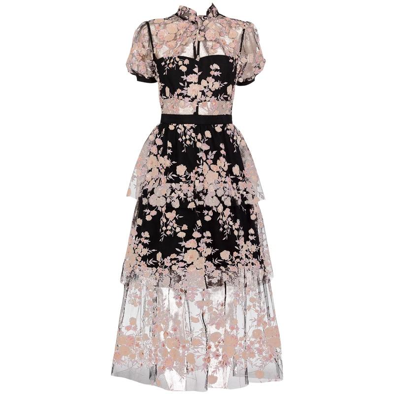 2019 nouvelle arrivée paillettes robe de fleur noire-in Robes from Mode Femme et Accessoires    1