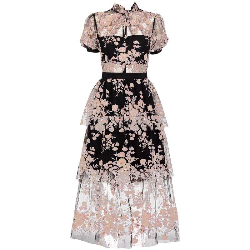 2019 새로운 도착 스팽글 검은 꽃 드레스-에서드레스부터 여성 의류 의  그룹 1