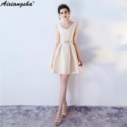 Цвет на заказ и размер платья подружки невесты с жемчужным поясом с v-образным вырезом мини-платья vestido de festa платье элегантное женское