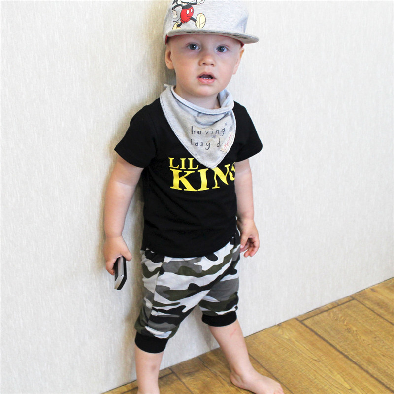 Boy gentleman kids wear toddler clothes boys summer outfit king print top camouflage shorts two piece set 2019 kid clothing D30 ρουχα για μωρα αγορια
