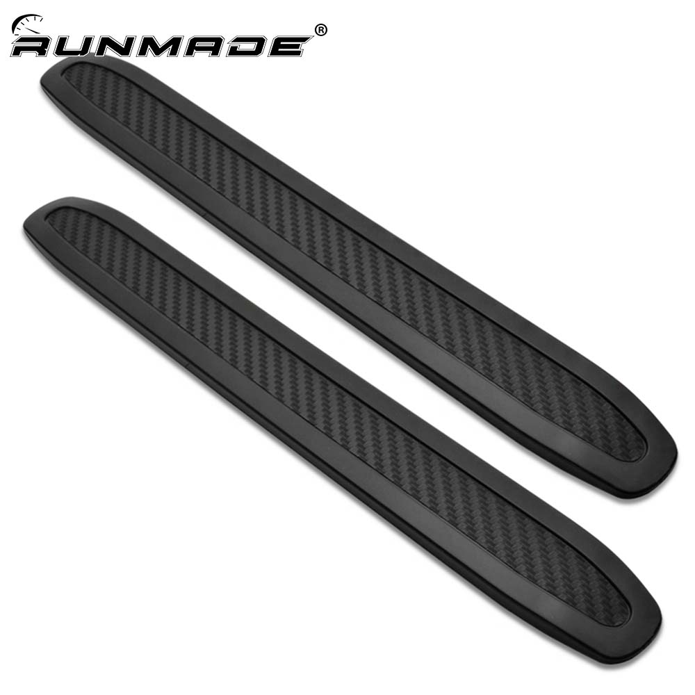цены runmade 2pcs Carbon Car Corner Protector Guard Strip Crash Bar Bumper Strip Trim Protection Guards Lip Deflector