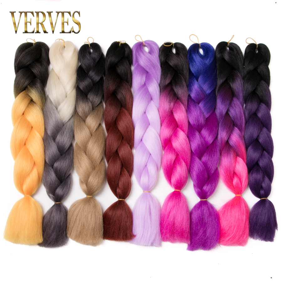 Adaptable Verves 1 Piece 24 Inch Synthetic Jumbo Braids 100g/pcs Ombre Braiding Hair Kanekalon Fiber Hair Extensions Synthetic Hair Comfortable And Easy To Wear Jumbo Braids