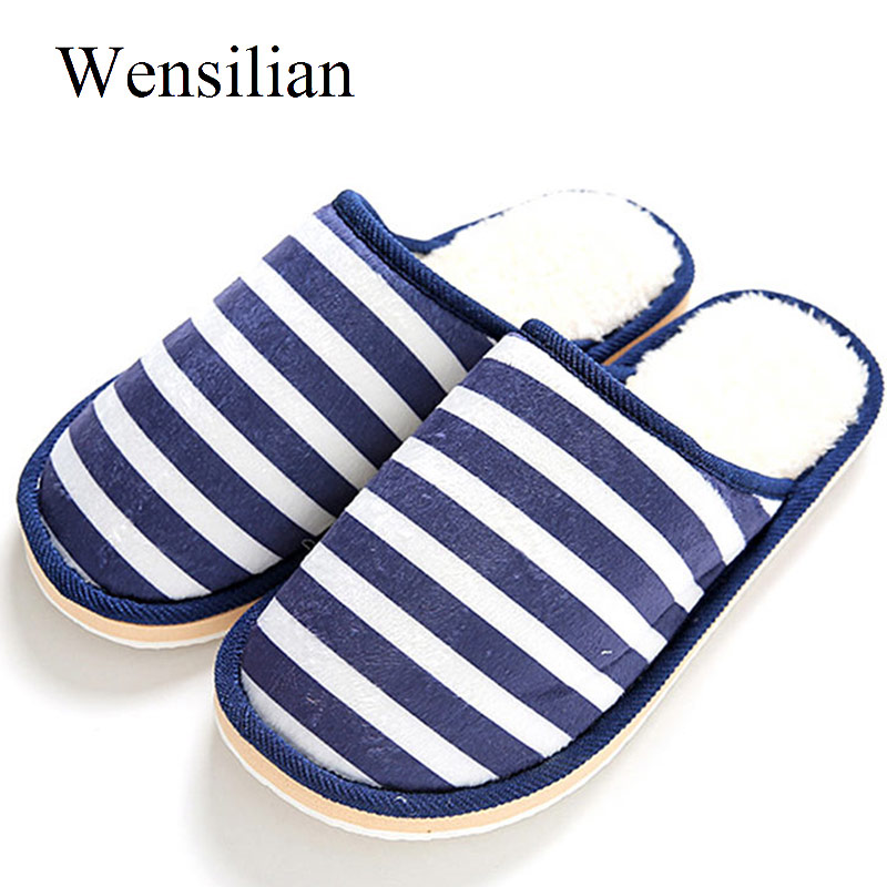 Women Cotton Slippers Autumn Winter Indoor Non Slip Thick Soles Striped Slippers Female Plush Warm Soft Couple Flats Shoes new women slippers non slip home room slippers elastic cloth printed grid transparent women comfortable thick soles women shoes