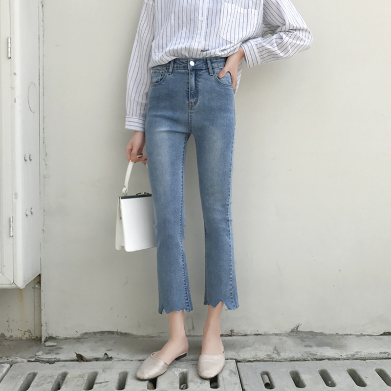 2019 Spring Summer Women Vintage High Waist Flare Denim Pants Ripped Casual Jeans For Woman Jean