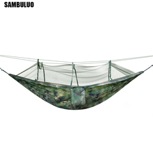 Camping Hammock Portable With Mosquito Net High Strength Parachute Fabric Army Green, Camouflage Hanging Bed Hunting Amaca
