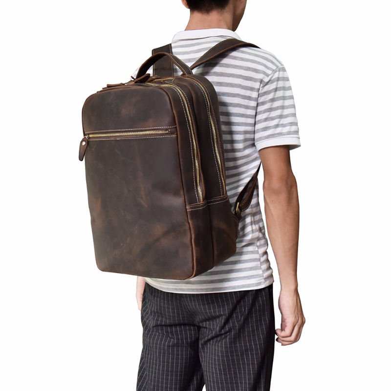 Crazy Horse leather Men Backpack Daypack genuine leather Large Capacity 14 inch Laptop bag man travel backpacks school bags  Crazy Horse leather Men Backpack Daypack genuine leather Large Capacity 14 inch Laptop bag man travel backpacks school bags