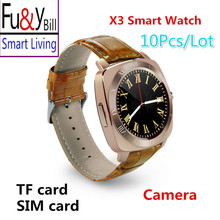 (10PCS/lot) X3 All Round Screen Smart Watch Phone Camera Can Be Inserted Into  Motion Reminded Touch Screen Watch PK Q18S Y1 V8