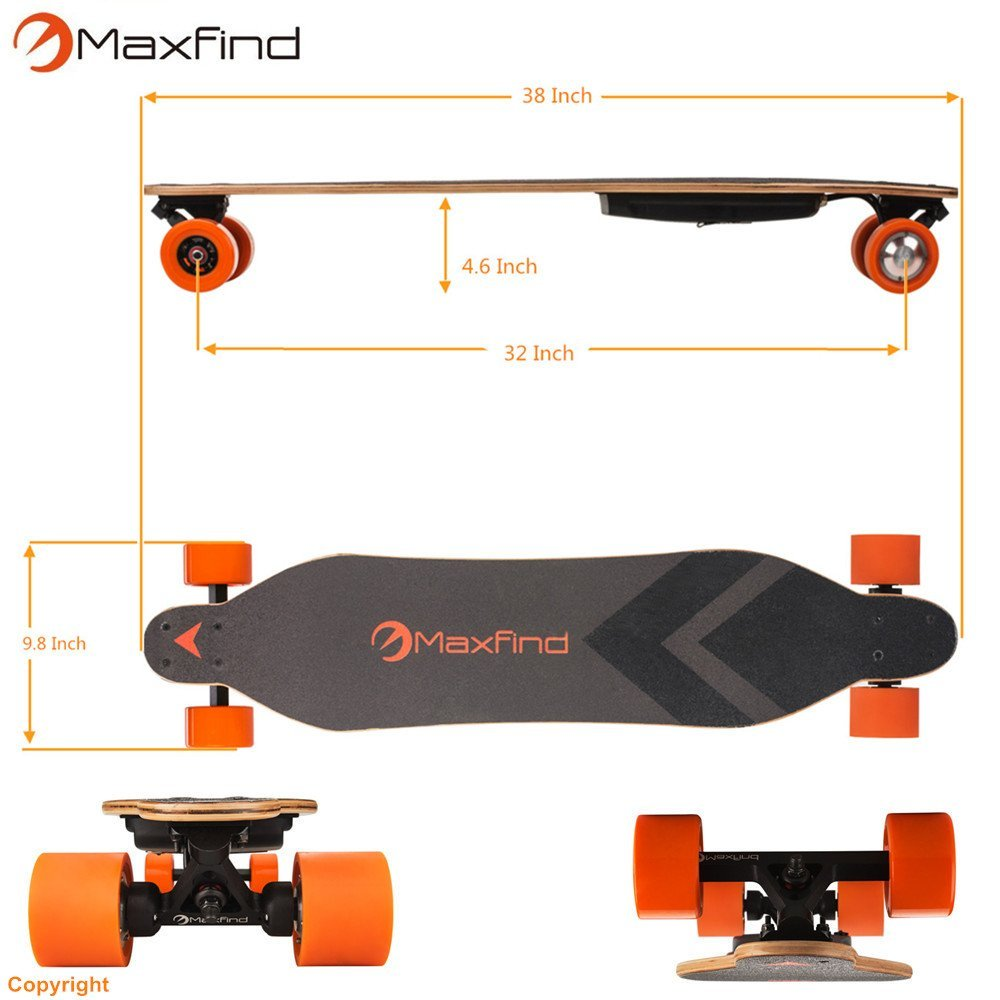 Maxfind Electric Power Skateboard Dual Motor with Wireless Remote Longboard free shipping
