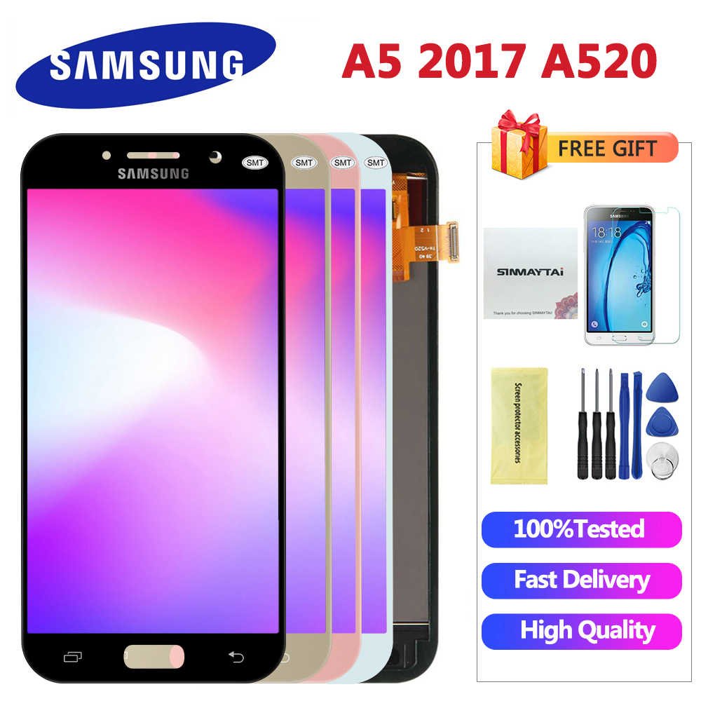 100% Test 5 2'' For SAMSUNG GALAXY A5 2017 A520 SM-A520F LCD Display Touch  Screen Digitizer LCD A5 2017 Assembly LCD