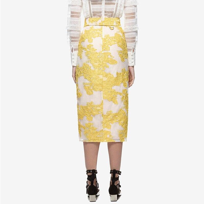 Slim Moda 2019 Irregular Costura Cadera Verano Calidad Mujeres Amarillo Alta Las Cintura En Bolsa Elegante Primavera Encaje Nuevas La De Y Falda PrOqP