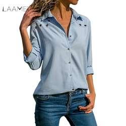 LAAMEI Для женщин блузка рубашка с длинным рукавом в Корейском стиле 2018 г. Модные осенние женские офисные блузы, футболка женский ПР Стиль Blusas