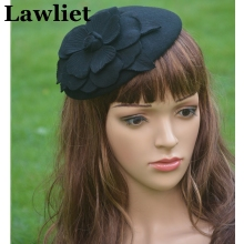 A083 Black Flower Womens Dress Vintage Fascinator Wool Pillbox Hat Party Wedding
