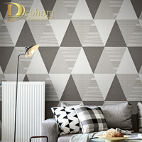 Colorful Triangle Graphic Modern Geometric Wallpaper waterproof Vinyl Straw Wall Paper For Hotel grey blue yellow