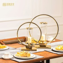 Europe candlelight dinner Metal glass Candle Holder dining table Alloy Candlestick home decor crafts room decoration objects