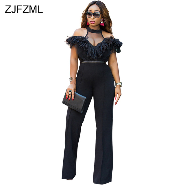 36545febe02f5 ZJFZML Halter Off The Shoulder Sexy Jumpsuit Women Mesh Patchwork Lace Romper  Casual Solid Color Full length Wide Leg Jumpsuit
