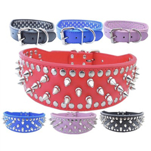 1PC Dog Collar Rivet Alloy Tie High Quality For Medium And Large Bitch Bulldog PU Leather Three Size 4 color