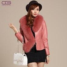 2012 new Ladies' genuine leather coat,Elegant slim fox fur collar leather jacket,Fashion sheepskin jacket outerwear FC275