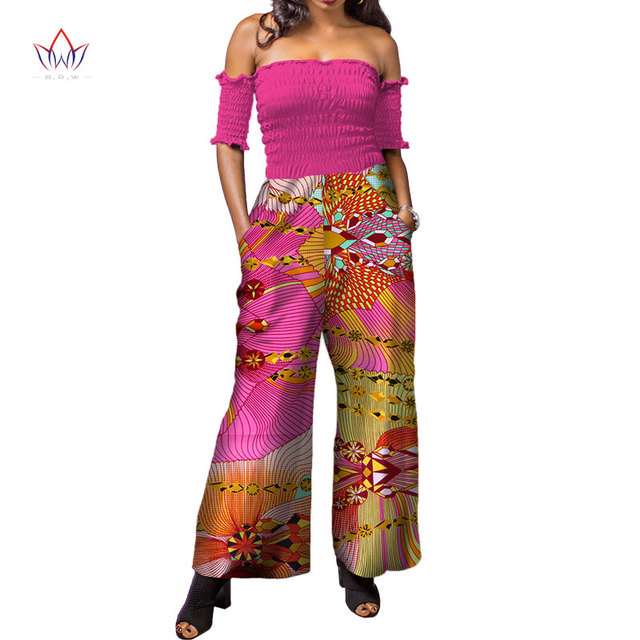 9d0b82abaaace 2019 African Print Women Jumpsuit strapless Sleeveless Autumn Sexy Romper  Wide Leg Pants African Ladies Jumpsuits Rompers WY3873