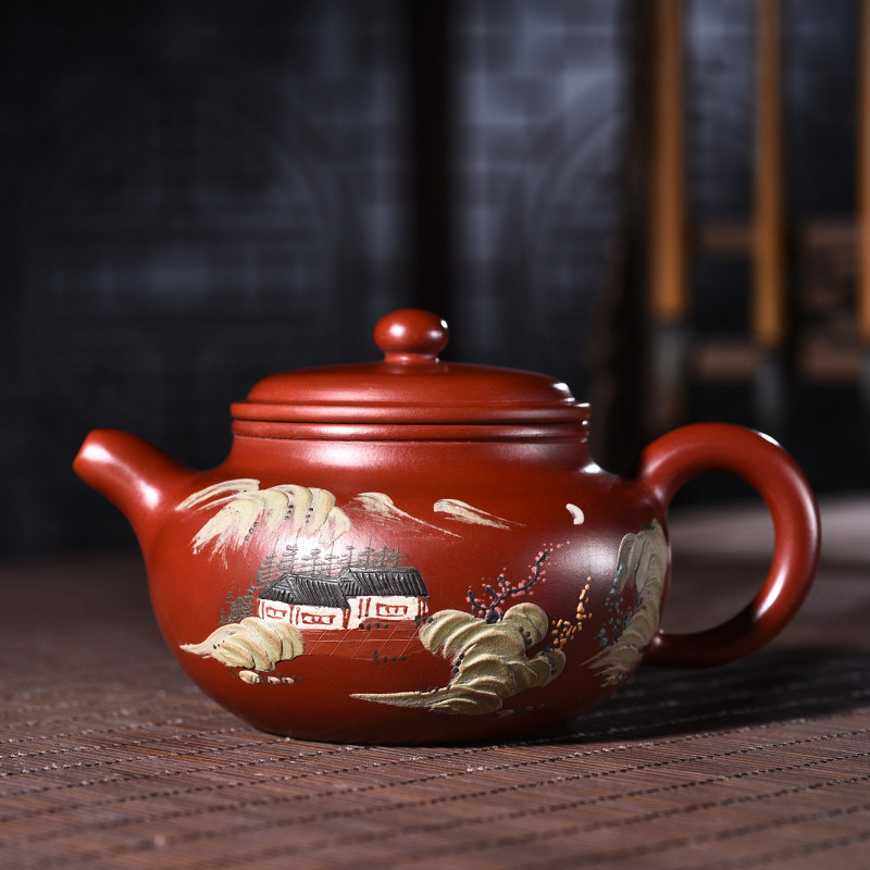 Raw Ore Bright Red Robe Painting To Fake Something Antique Kettle Kungfu Online Teapot Tea Set A Piece Of Generation HairRaw Ore Bright Red Robe Painting To Fake Something Antique Kettle Kungfu Online Teapot Tea Set A Piece Of Generation Hair