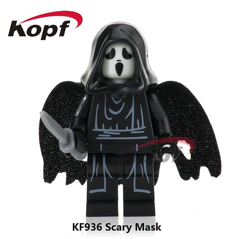 20Pcs The Horror Theme Movie Scream Killer Halloween Costume Scary Mask Michael Myers Building Blocks Toys for children KF936