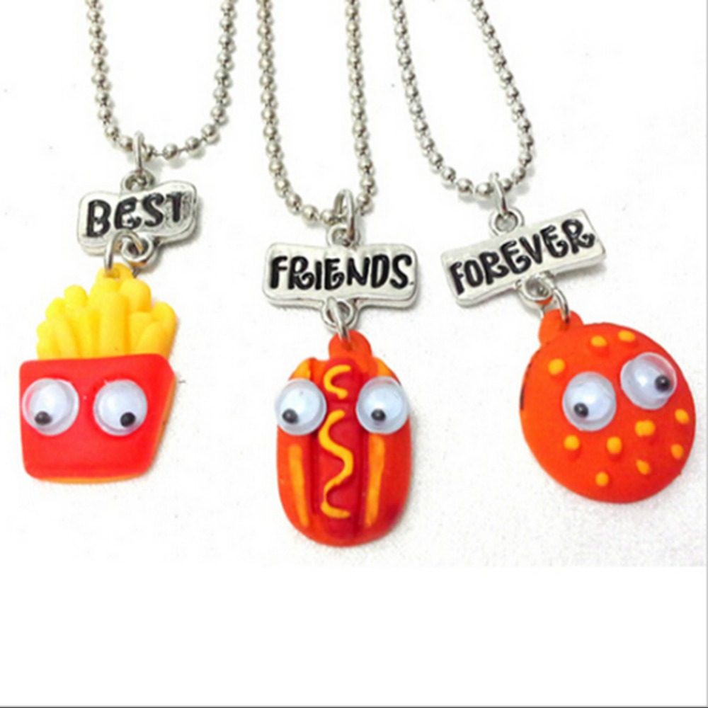 3 Pcs Best Friend Forever Pendant Bead Chain Necklace Fast Food Cute Lovely Chips Hot Dog Hamburger Kids Jewelry Movable Eye