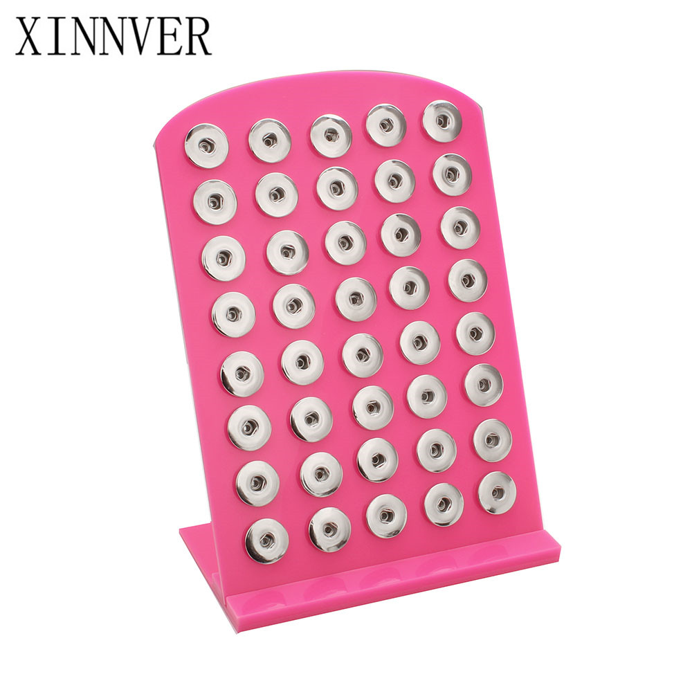 6 Color Snap Jewelry High Quality Pink Black Acrylic Snap Display For 40PCS 18mm Snap Metal Buttons Soft Display Stand