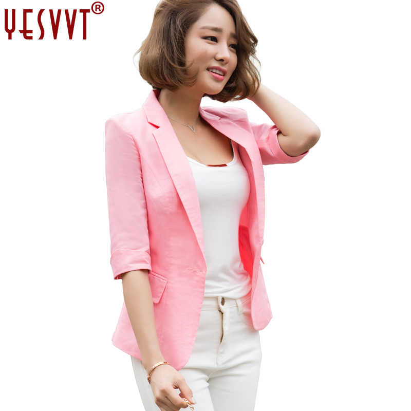 YESVVT 2017 NEW Autum female outerwear Fashion Women Blazer jacquard suit Jacket Slim One button Half sleeve Women coat S-3XL ...