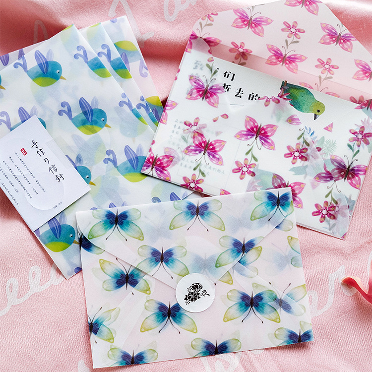 Creative Animals Birds Butterflies Flower Paper Envelope Translucent Envelope For Planner Organizer Wedding Letter Invitation