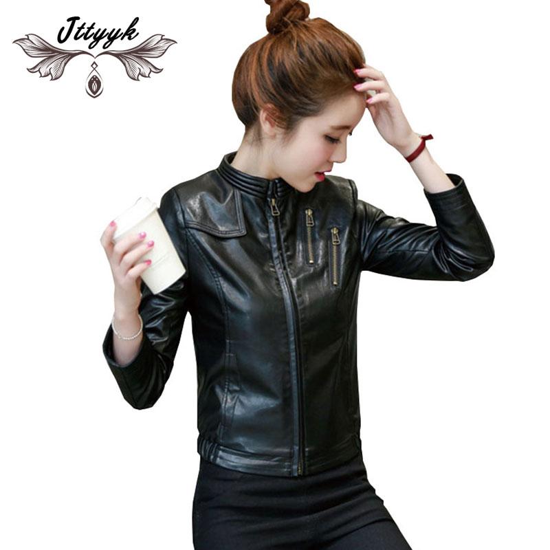 Spring Autumn PU Leather Jacket Women Coat 2019 Short Leather Jacket zipper High quality Black Bomber