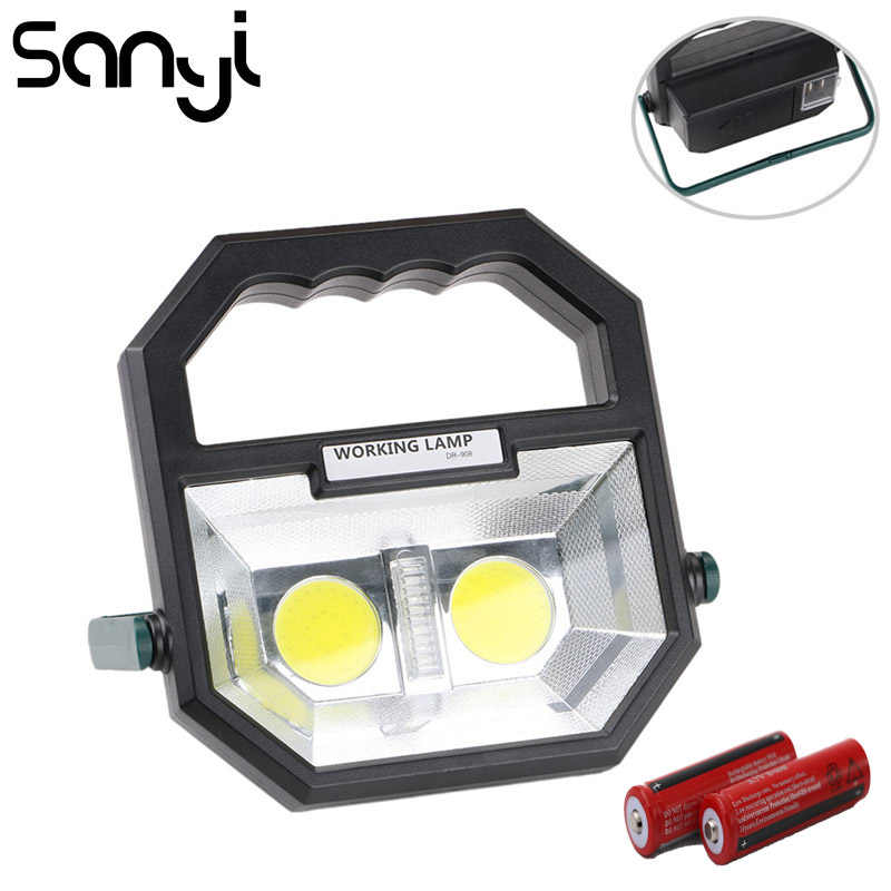 SANYI  Portable Floodlight Lantern USB Rechargeable COB LED 4-Mode Spotlight Lamp Outdoor Working Light