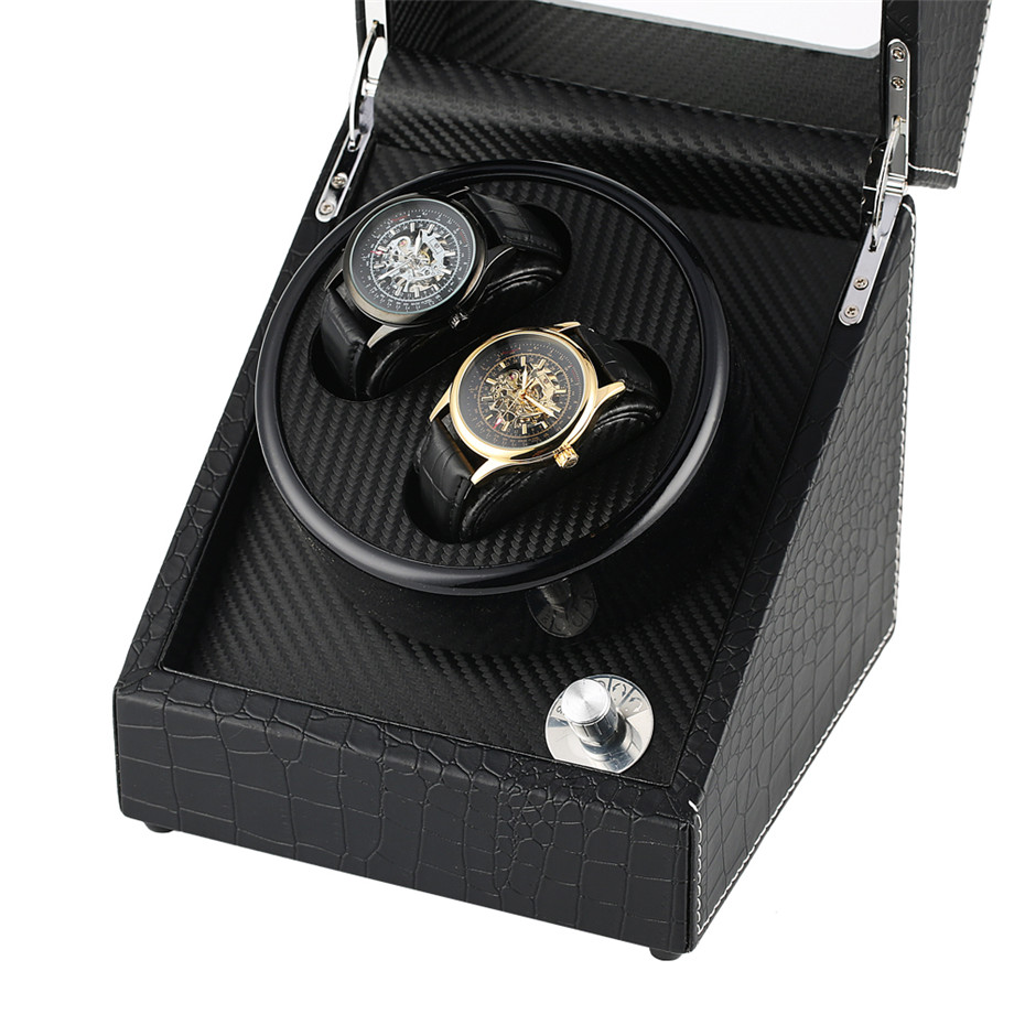 Black 2+0 Mechanical Self-Winding Watch Winder High Quality Winding Box Silent Motor Case Luxury Automatic Shaker Storage Boxes | Watch Winders